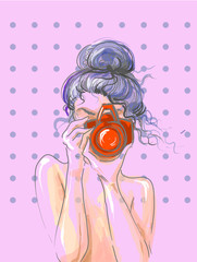 Hand drawn beautiful cute girl with camera in his hands. Vector illustration.
