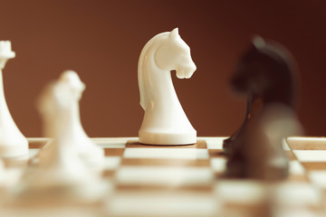 Horse move. Figures on chessboard