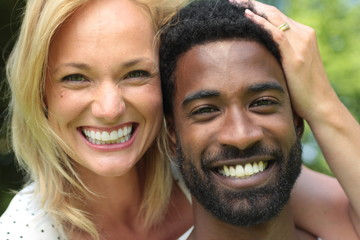 Beautiful happy love couple in the park