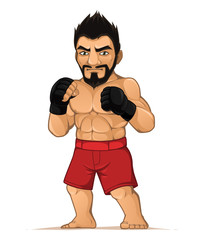 MMA fighter man in the fighting stance