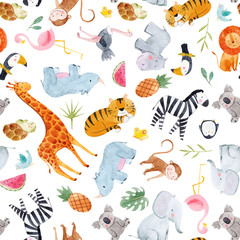 Safari animals watercolor vector pattern