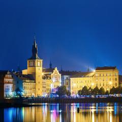 Night panoramic view of Prague cityscape, Czech Republic