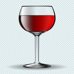 Glass of vine on transparent background