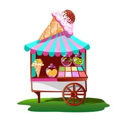 Ice cream cart with tasty decor. Bright, summer banner. Vector illustration.