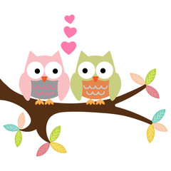 two owls on a branch with hearts