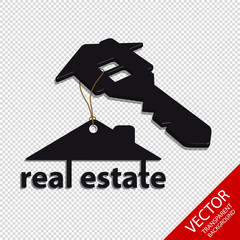 Real Estate - Architecture House And Key Concept - Hanging Vector Logo - Isolated On Transparent Background