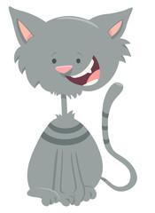 happy gray tabby cat cartoon animal character