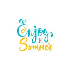 Enjoy the summer postcard. Ink illustration. Modern brush calligraphy. Isolated on white background.