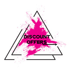 Discount offer. Logo painted pink ink background. Vector illustration.