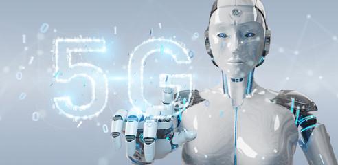 White cyborg woman using 5G network digital hologram 3D rendering