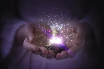 lamp of aladin, a magic lamp of fulfillment of desires, magic particles