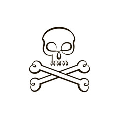abstract icon of skull with bones isolated on white background