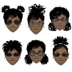Set of faces of black girls with different hairstyles and in sunglasses. Vector illustration.