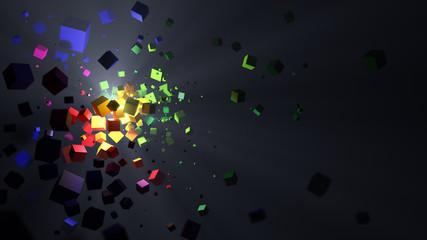 Abstrakter bunter Hintergrund mit einer Explosion aus Würfeln