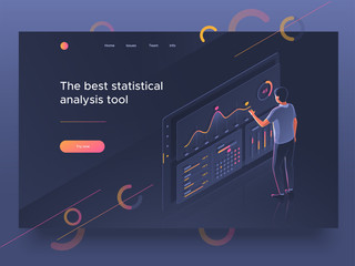 People interacting with a dashboard. Data analysis, statistics collection. Landing page template. Vector 3d illustration