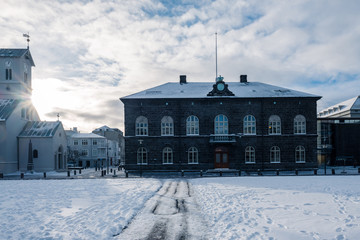 Parliament Building in Reykjavik, Iceland in sunny winter day.
