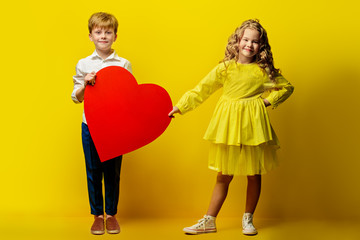 kids with red heart