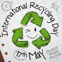 Cute Doodles in Notebook Paper for International Recycling Day Celebration, Vector Illustration