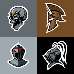 Skull and Knight Helm logo set.