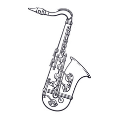 Doodle of classical music wind instrument saxophone