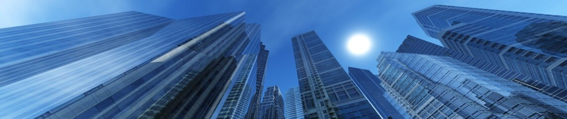 skyscrapers modern high-rise buildings against the sky, panorama of the cityscape, 3D rendering