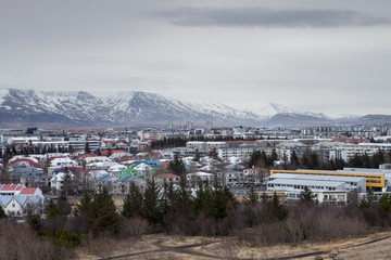 Clouds hang over the city of Reykjavik