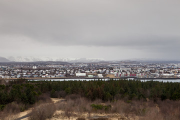 The city of Reykjavik on a cloudy day
