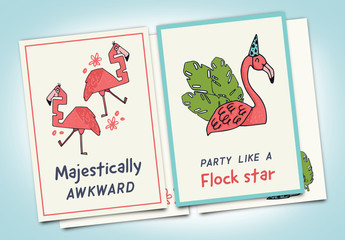 2 Birthday Card Layouts with Flamingo Illustrations