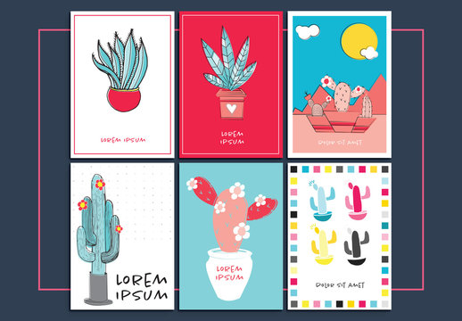 6 Greeting Card Layouts with Cactus Illustrations
