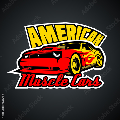 a52c3efd American Muscle Cars. T-Shirt print template.