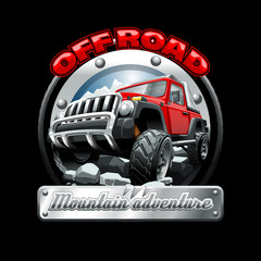 Extreme red Off Road Vehicle SUV on a mountain. Vector illustration.