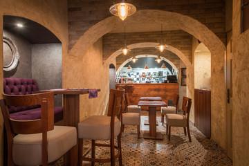 Furniture and restaurant bar counter in retro interior