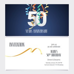 50 years anniversary invitation vector