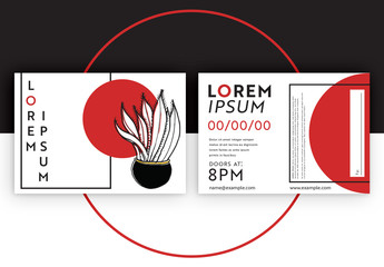 Event Flyer Layout with Plant Illustration