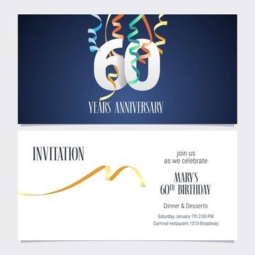60 years anniversary invitation vector