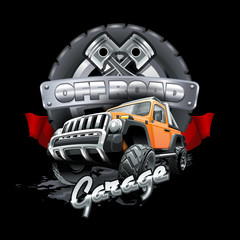Extreme orange Off Road Vehicle SUV. Vector illustration.