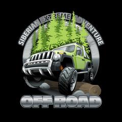 Extreme green Off Road Vehicle SUV Siberian adventure. Vector illustration.
