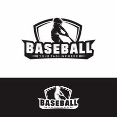 Shield Baseball Logo Vector Silhouette