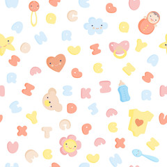 Cute Baby Alphabet and elements Vector seamless pattern