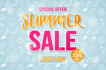 Summer Sale - shiny poster. Vector.