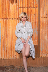 Blonde in a housedress