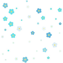 Forget-me-nots confetti celebration, Falling blue abstract decoration for party, birthday celebrate, anniversary or event, festive. Festival decor with forget-me-nots flowers