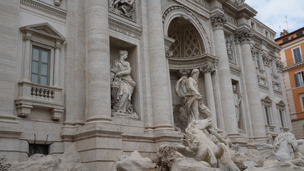 Rome, May 6, 2018: side view of Trevi Fountain on a cloudy day