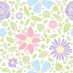 Retro background with hand drawn flowers. Mother's Day, Woman's Day and Valentine's Day. Vector..
