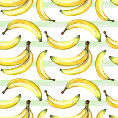 seamless background of watercolor drawings of fruits yellow bananas and decorative green stripe