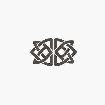 Celtic knot vector. Ornamental tattoo symbol. Luxury circle retro emblem.Traditional scottish vector logo.