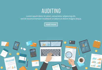 Online auditing, analysis, accounting, tax process, research, financial report. Businessman hands with laptop, documents, graphics, charts, calendar, magnifier, report, tablet, phone Vector background