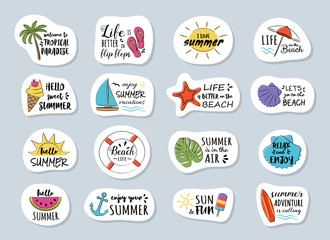 Funny summer calligraphy with funny icons. Collection of badges.  Vector.