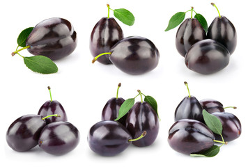 plums isolated on white
