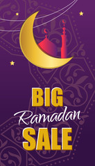 Ornate vector banner on purple background. Islamic backdrop.Ramadan Kareem greeting card, advertising, discount, poster. Big Sale. web banner with beautiful crescent moon and stars.